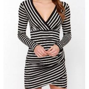 Versatile Surplice B&W striped dress
